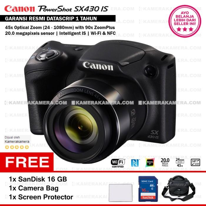 harga Canon Powershot Sx430 Is Wifi 20mp + Screen Guard + Sandisk 16gb + Bag Tokopedia.com