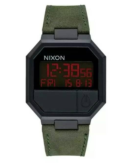Jual Jam Tangan Nixon Re Run Leather All Black Green A944032 - La ... 5b4fcd64e6
