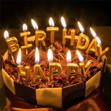 Lilin kue happy birthday gold silver