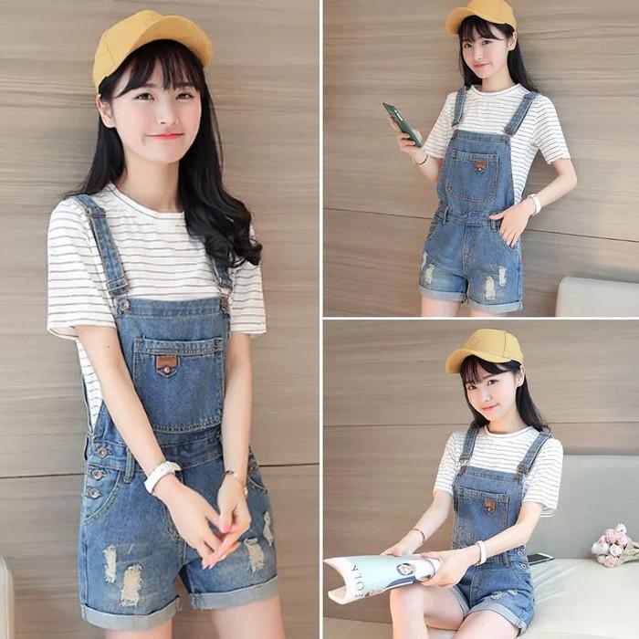 Hanyu panas gaya Korea jual baju wanita atasan bergaris leher V blus hitam - International . Source · harga Ripped denim jumpsuit korean | baju monyet jeans ...