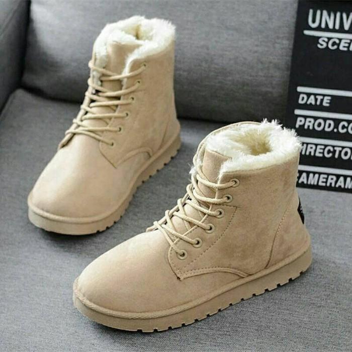 harga Sepatu boots thermal bulu musim dingin wanita Tokopedia.com