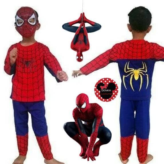 Baju kostum spiderman superhero + topeng setelan anak murah kualitas
