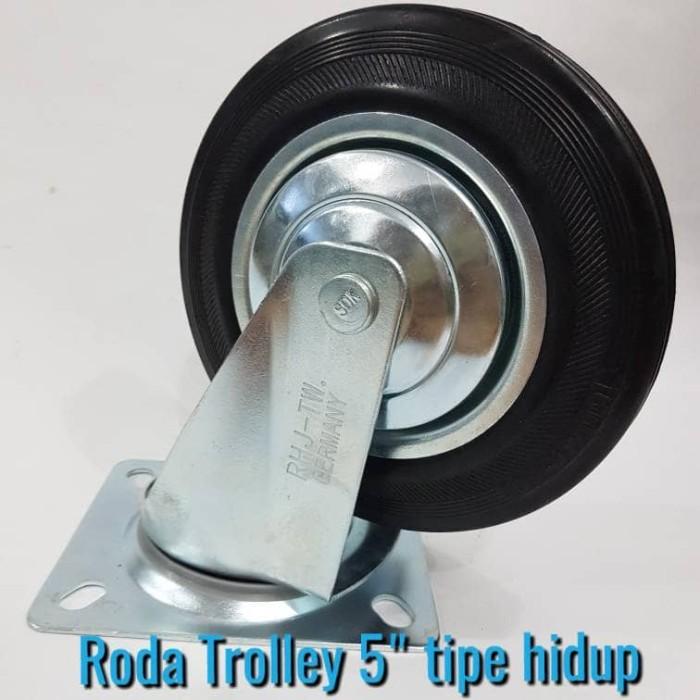harga Roda trolley 5 /roda etalase/roda karet/roda gerobak tipe hidup Tokopedia.com