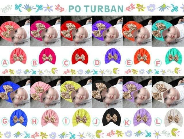 Turban pita emas bling 6-36 month baby balita toddler bayi anak kids