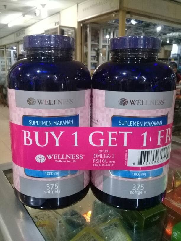 harga Wellness natural fish oil omega 3 1000 isi 375( buy 1 get 1 free) Tokopedia.com