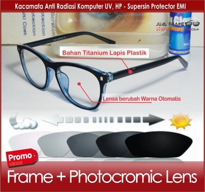 Frame Kacamata Minus Lensa Photocromic-Kacamata Hitam Pria Cewek Kota f17a36d6bb