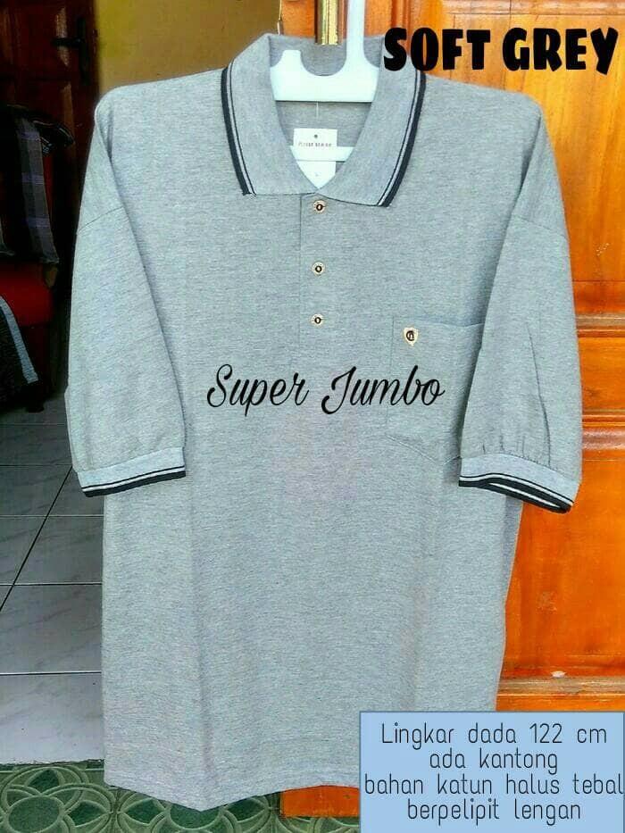 087a2bdf0 Kaos kerah pria polo shirt jumbo Lebar dada  61 cm halus XXXL big size -  Abu-abu Muda