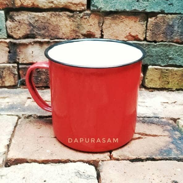 harga Gelas/mug Enamel 12cm Warna Merah Polos Blek Seng Kaleng Jadul Vintage Tokopedia.com