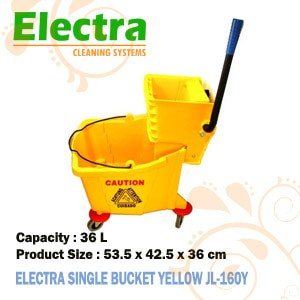 EMBER PEL LANTAI DAN PEMERAS PEL - SINGLE BUCKET YELLOW - ELEC - Kuning