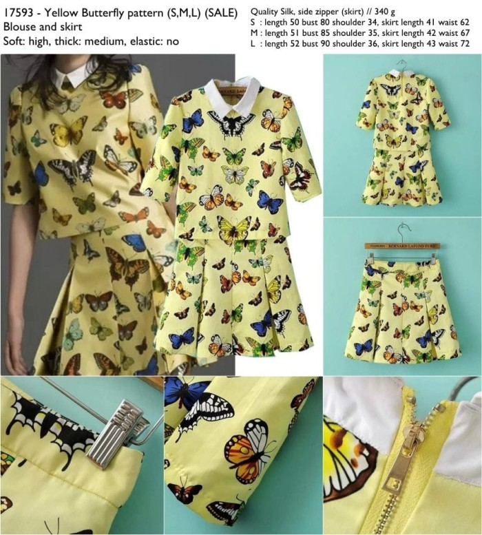 harga 17593 - yellow butterfly pattern (sml) (sale) -  blouse and skirt Tokopedia.com
