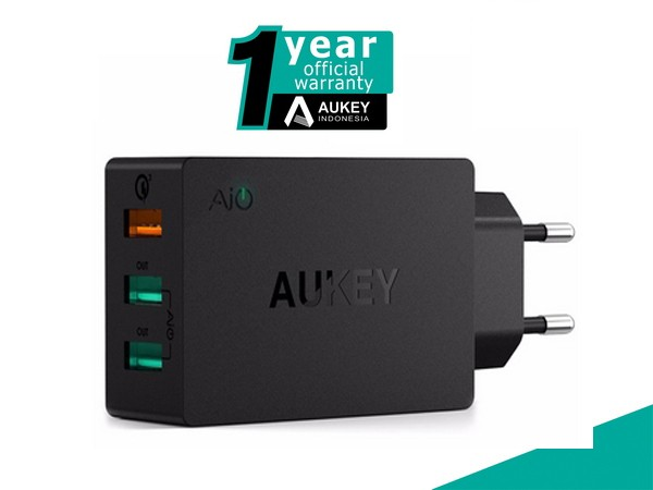 harga Aukey pa-t14 quick charge 3.0 wall charger 3 port Tokopedia.com