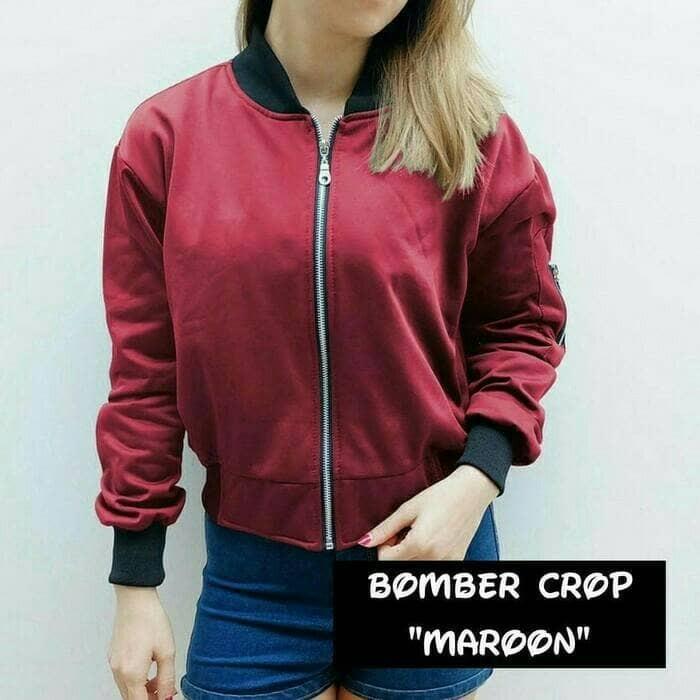 Jaket Wanita Bomber Crop Maroon ( blazer   hoodie   sweater ) - Maroon fc78dc71c9