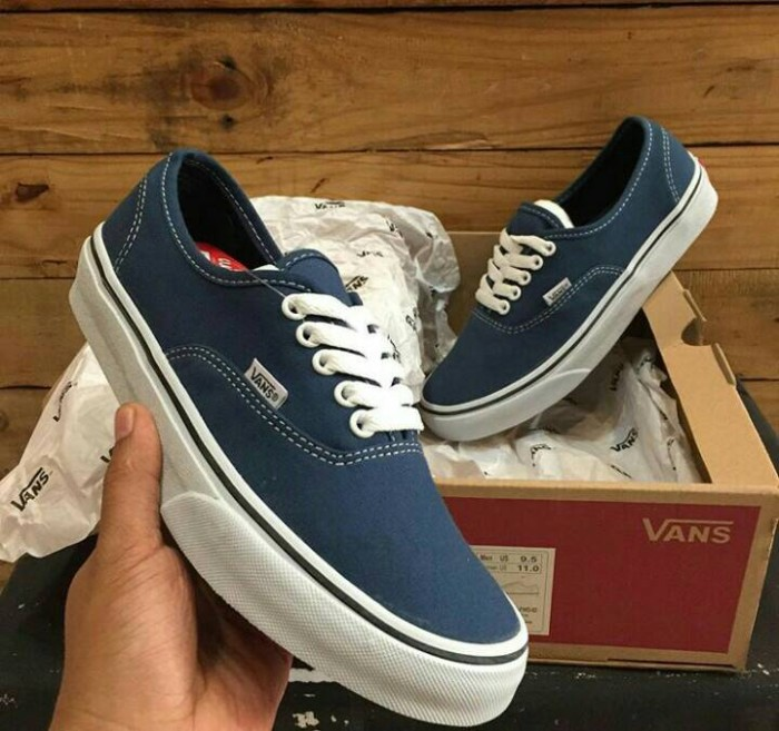 acef34b12c Jual Sepatu Sneakers Vans Authentic Blue White Wafle DT Premium ...