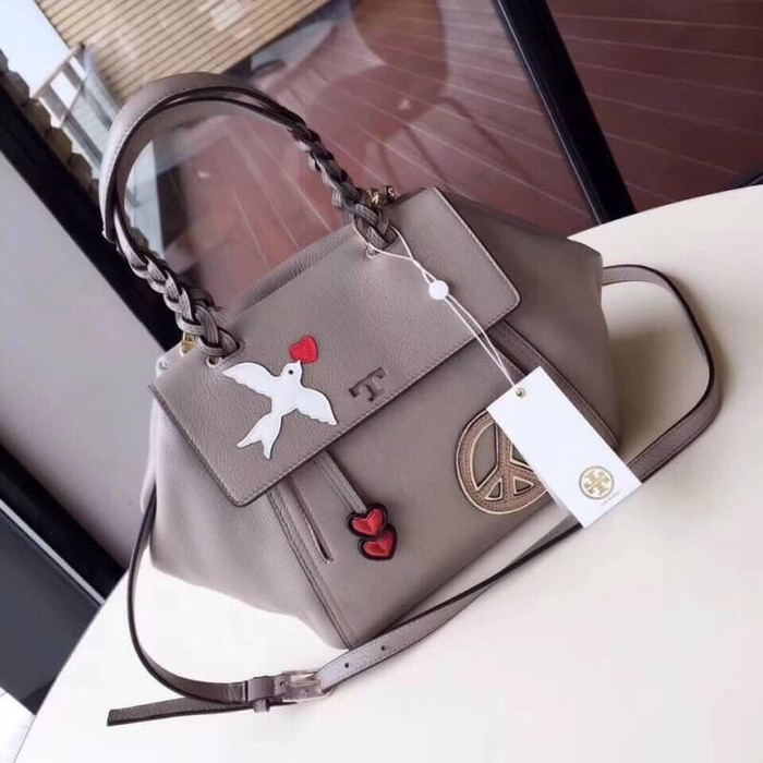be5f02a8986 Jual Tory Burch Peace Embellished Half Moon Small Satchel - Branded ...
