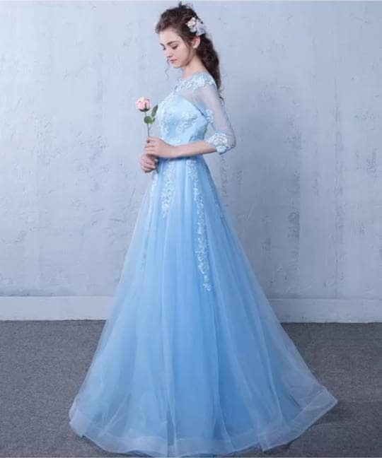 Jual Itb 01 Gaun Pengantin Long Party Maxi Wedding Dress Warna Biru