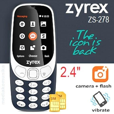 harga Zyrex zs-278 layar 2.4  - dual sim - garansi resmi Tokopedia.com