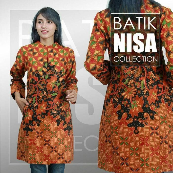 harga Baju batik blouse tunik atasan wanita orange flower katun cap etnik Tokopedia.com