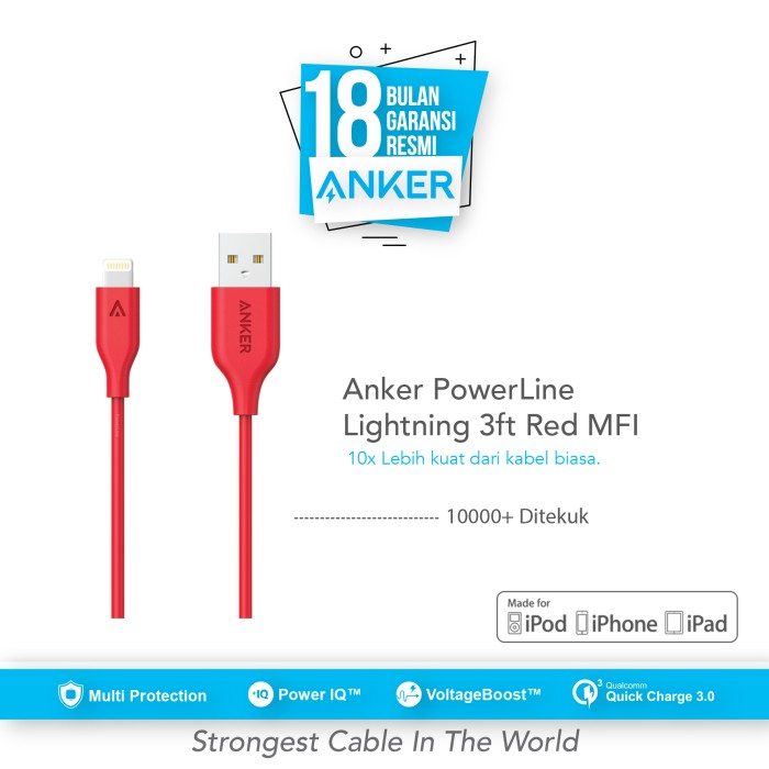 anker powerline lightning mfi certified cable 3ft/0.9m - red [a8111h91]
