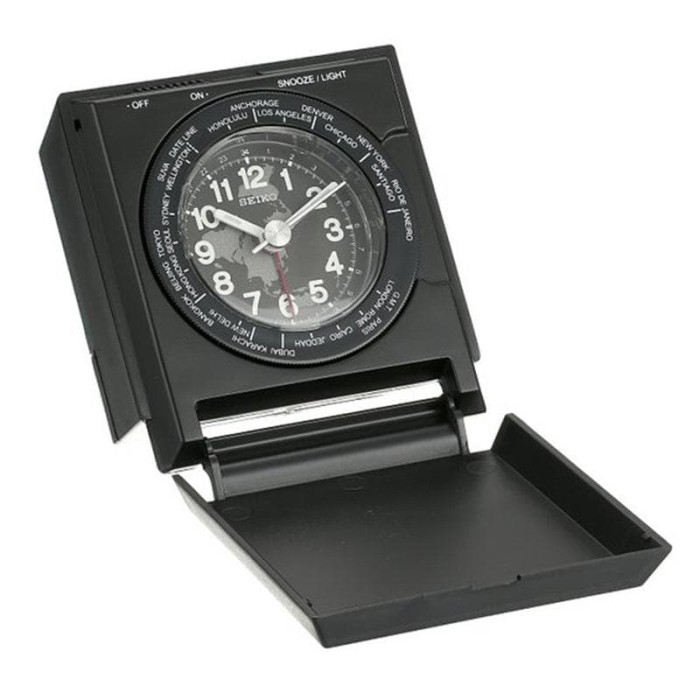 Seiko Alarm Clock QHE116K World Time Lumibrite - Jam Weker QHE116