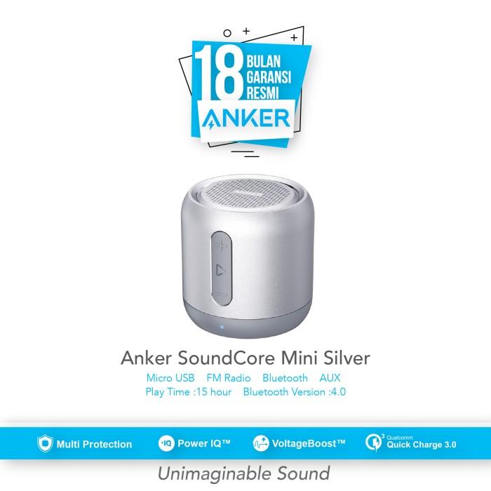 anker soundcore mini speaker bluetooth portable - silver [a31011a1] - abu-abu muda