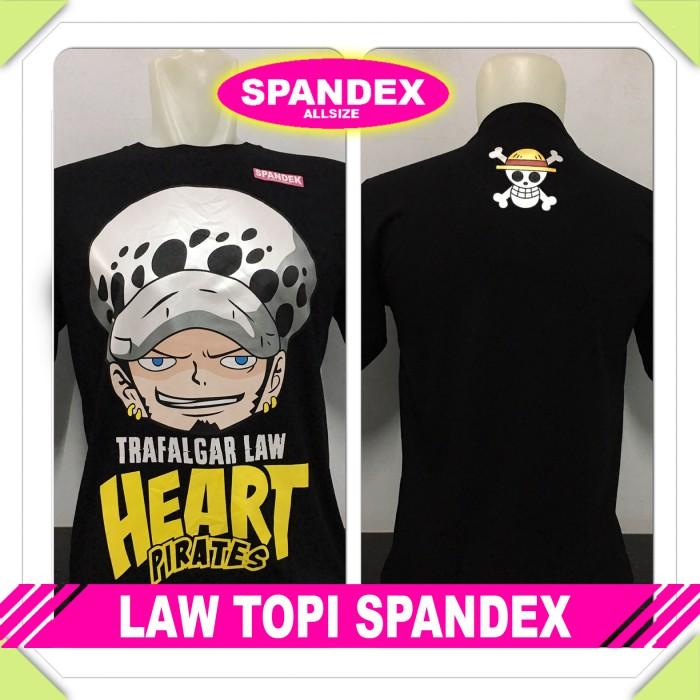 harga Kaos baju distro anime/kartun onepiece - trafalgar law topi spandex Tokopedia.com