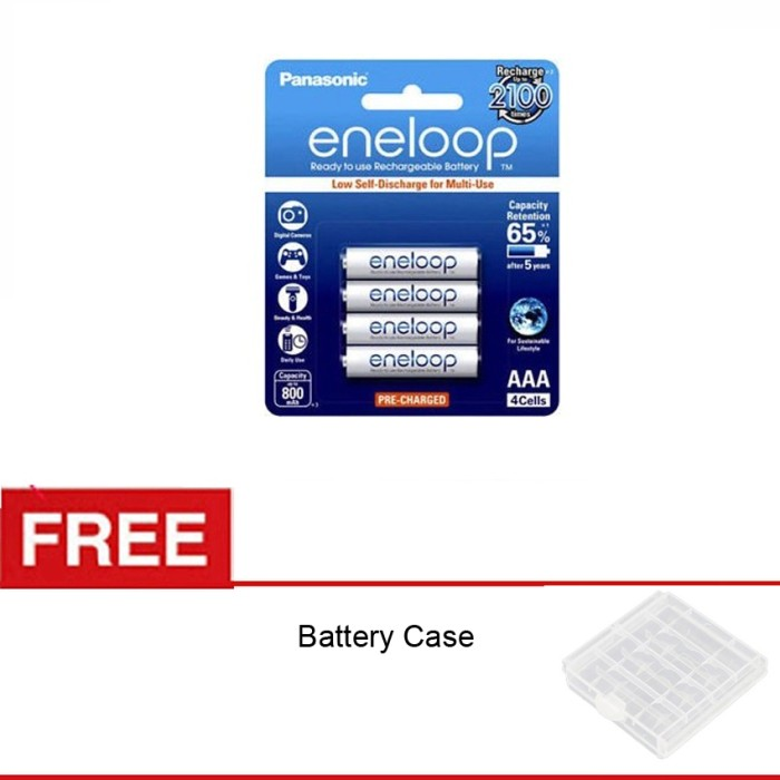 Foto Produk Panasonic Eneloop AAA 800mAH - BP4 - Free Battery Case dari Rajawalidigital