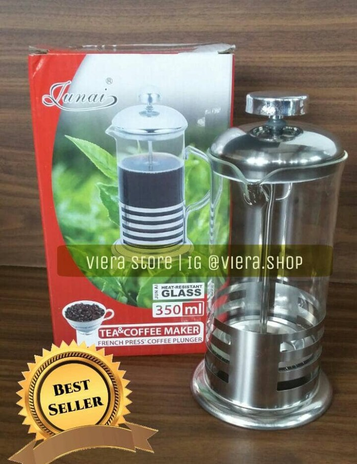 harga French press coffee plunger stainless / coffe & tea maker 350ml Tokopedia.com