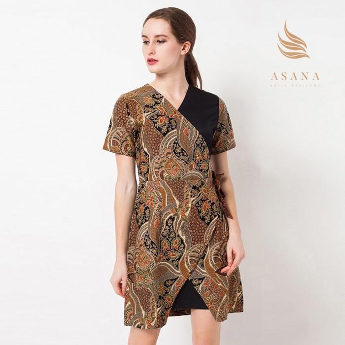 Asana flower waves woman dress batik wanita - brown - cokelat m