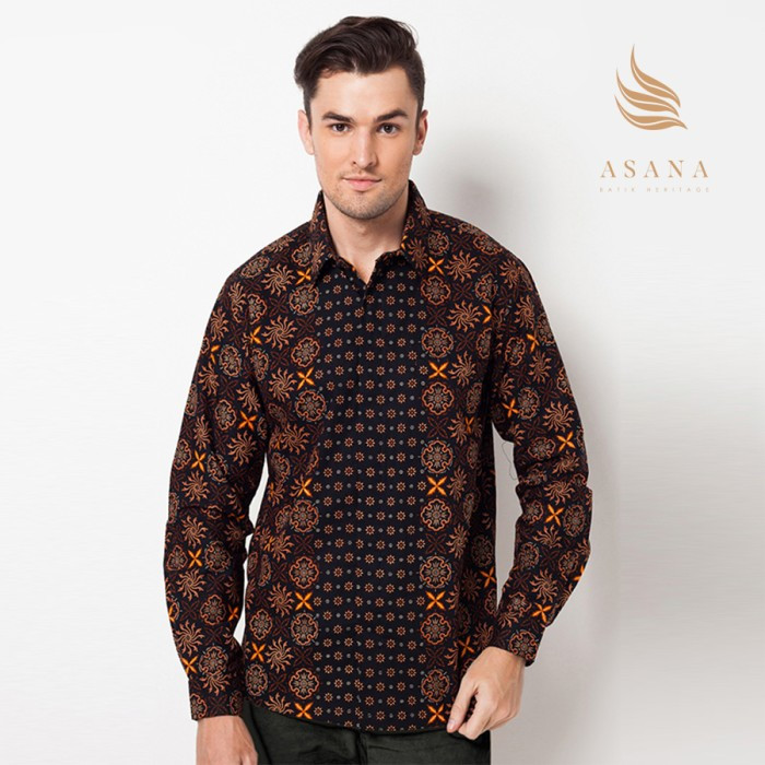 Jual Asana Truntum Long Sleeves Batik Pria Black Asana Batik