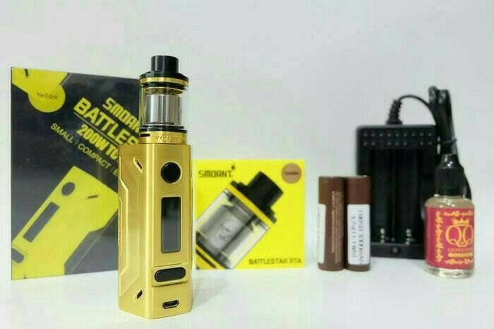 PAKET NGEBUL AUTHENTIC SMOANT BATTLESTAR 200W GOLD RTA KIT VAPE