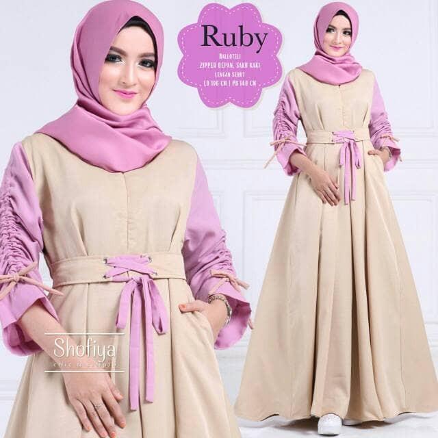 Jual Gamis Long Dress Muslimah Terbaru Banyak Warna Serut Lengan