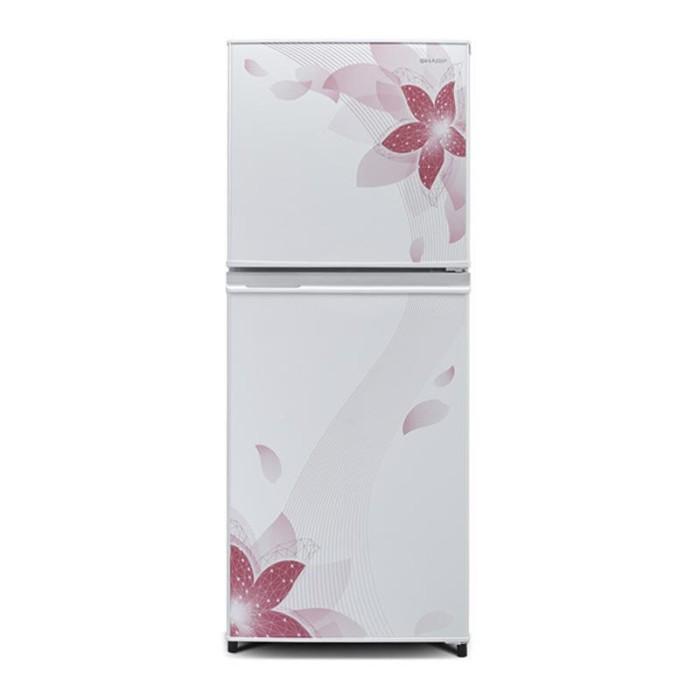 harga Sharp kulkas 2 pintu - sj-316nd-fw - pinkrak kaca murah Tokopedia.com