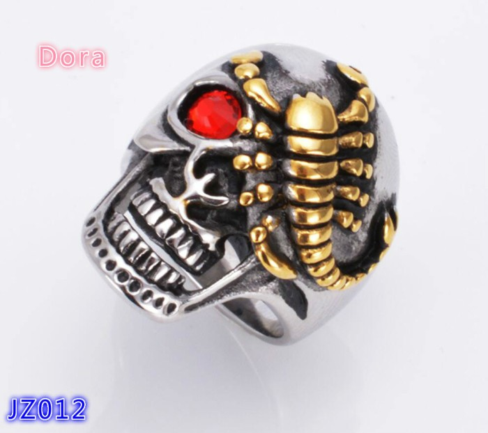 harga Cincin pria skull  tengkorak /titanium steel red eye skeleton ring Tokopedia.com