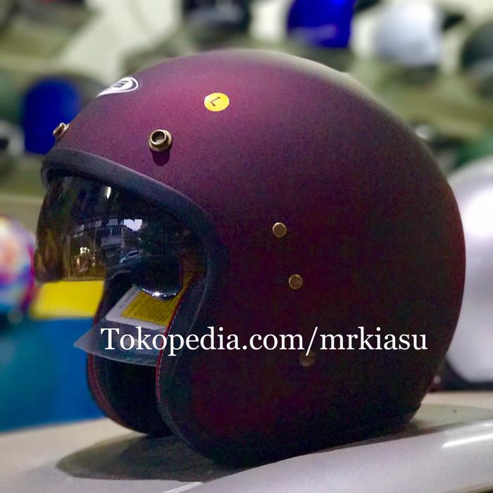 harga Zeus 380 matt red wine doff purple maroon merah anggur helm retro bogo Tokopedia.com