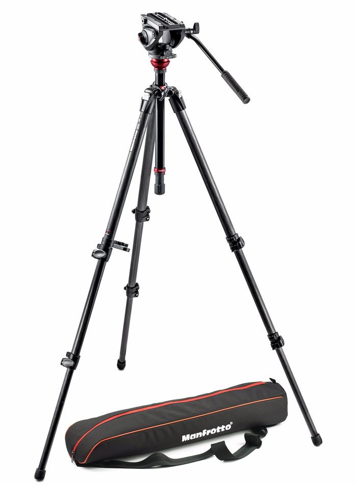 Foto Produk Manfrotto Tripod with fluid video head and Carbon Legs MVH500AH,755CX3 dari taskamera-id