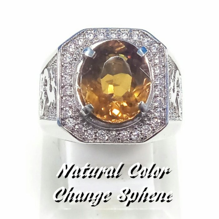harga Cincin batu akik permata natural color change sphene ring alpaka Tokopedia.com