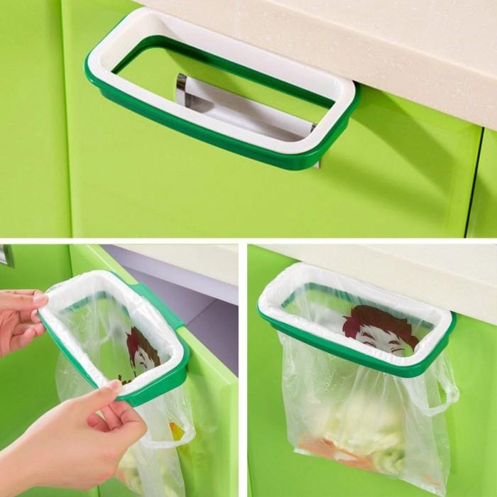 harga Rak hanger kantong plastik tempat sampah gantung - green white Tokopedia.com