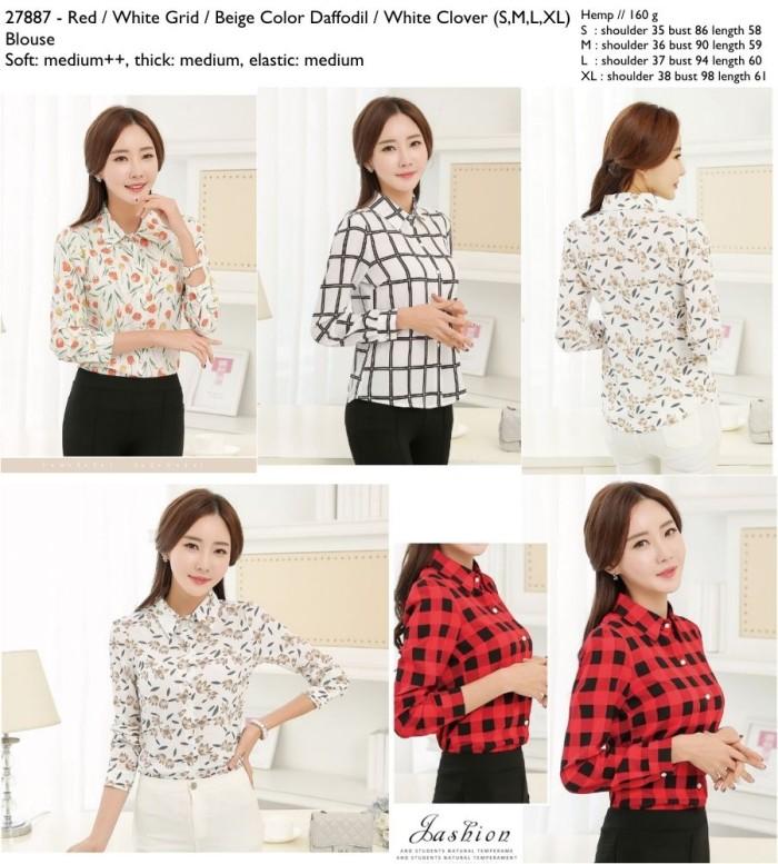 Foto Produk 27887 Pattern Blouse / Blouse Merah Putih Kotak Beige Motif Bunga dari XineShop