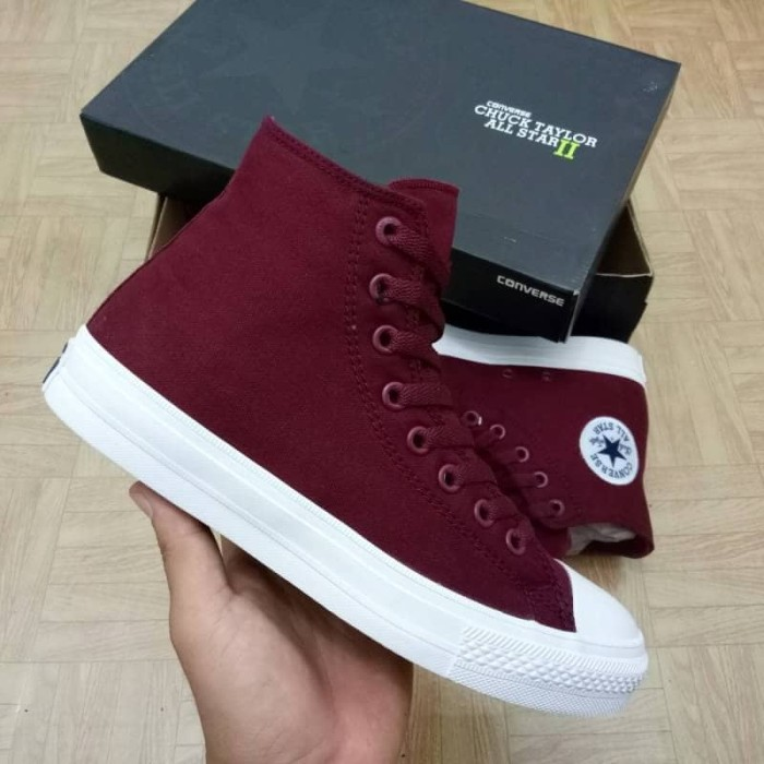 Jual sepatu converse chuck taylor II tinggi merah maroon   port ... 761f6a8a84