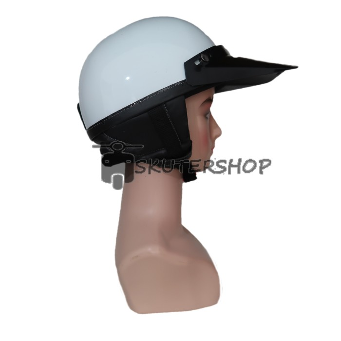 Helm Chips New Retro Klasik Jap Style Vintage Putih Glossy With Pet Pa 3