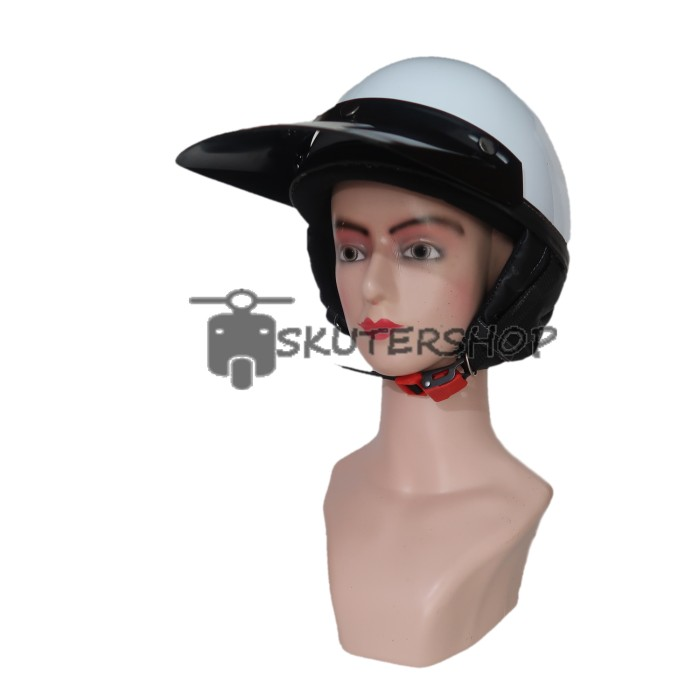 Helm Chips New Retro Klasik Jap Style Vintage Putih Glossy With Pet Pa 2