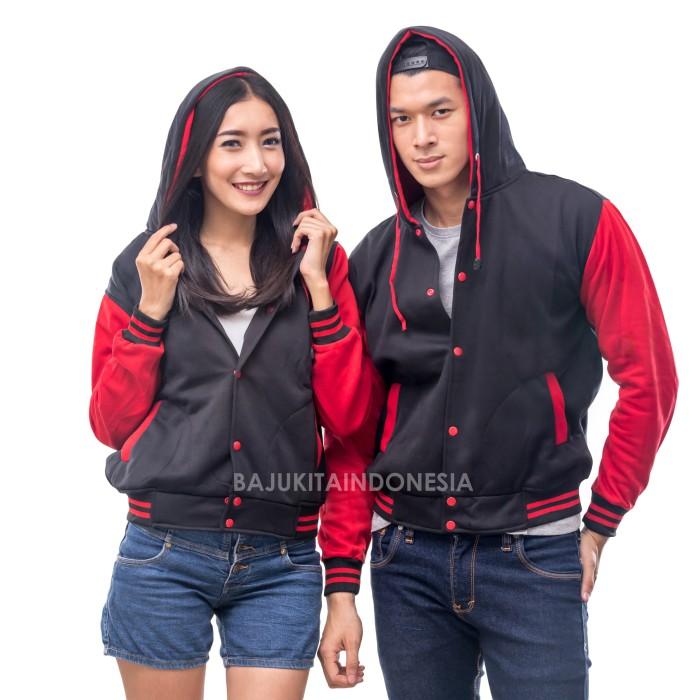 [terlaris] jaket hoodie varsity hitam x merah polos pria m-xl kualitas