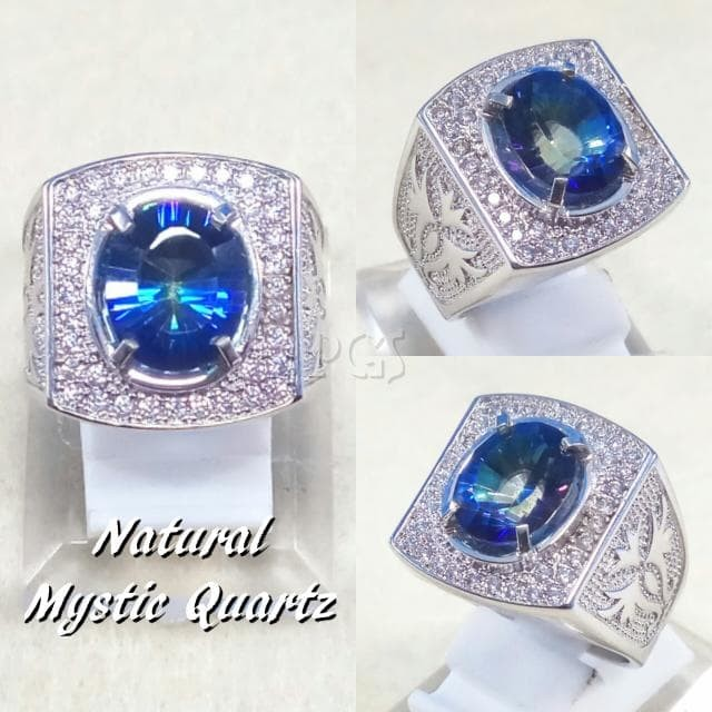 harga Cincin batu permata natural blue mystic rainbow quartz ring alpaka Tokopedia.com