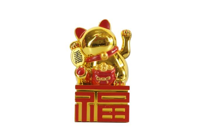 harga Patung kucing fu maneki neko 14 cm emas gold merah beruntung lucky cat Tokopedia.com
