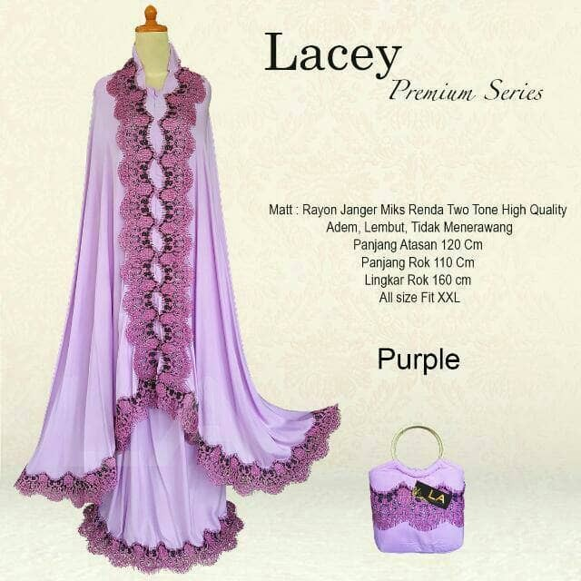 Mukena Bali RENDA LACEY PREMIUM Series Super Jumbo Ungu Muda Purple