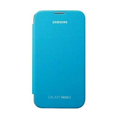 Jual Flip Cover Samsung Galaxy Note 2 With Nfc Original Light Blue
