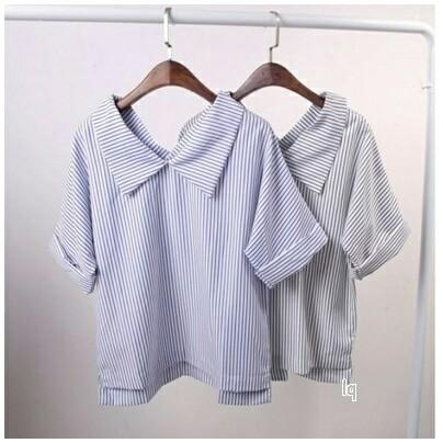 Foto Produk [stripe extra kerah biru RO] blouse wanita katun biru - Biru dari FASHIONISTA's GROSIR