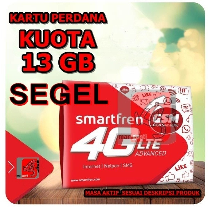 Jual kartu perdana internet smartfren 13 gb aktif