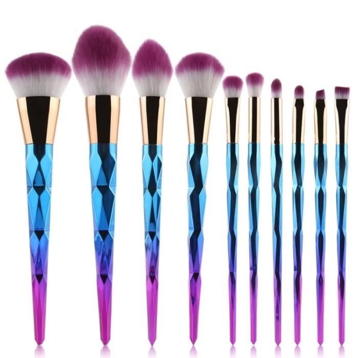 harga 10 pcs spiral ombre kuas - makeup brush set Tokopedia.com