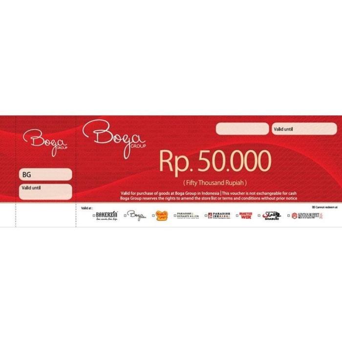 harga Boga group gift voucher fisik rp 50.000 Tokopedia.com